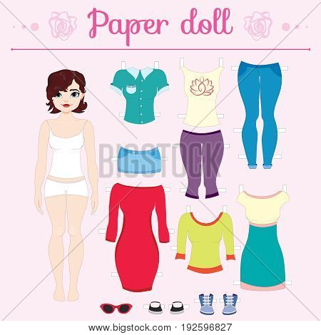 Dress up paper doll with big head pants and dresses shoes and hats fashion
