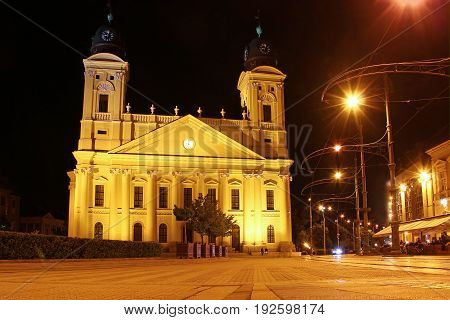 Reformed Great Church (Nagytemplom) and Kossuth Ter, the central square of Debrecen at night, Hungary