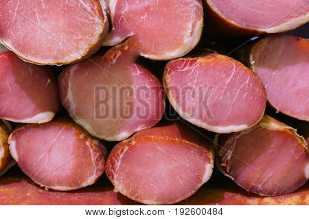 Large pieces of smoked bacon cooked in a traditional way.