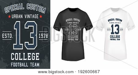 T-shirt print design. 13 Vintage stamp and t shirt mockup . Printing and badge applique label t-shirts jeans casual wear. Vector illustration.