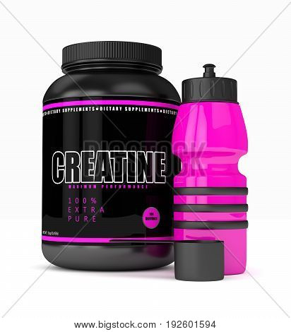3D Render Of Creatine With Water Bottle  Over White