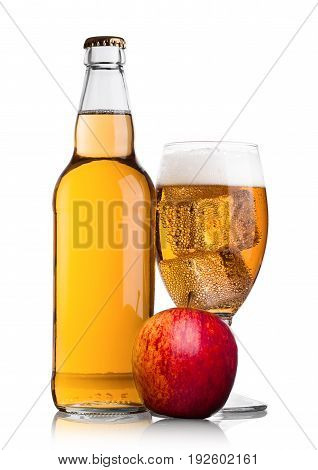 Bottle And Glass Of Apple Cider With Fresh Apple