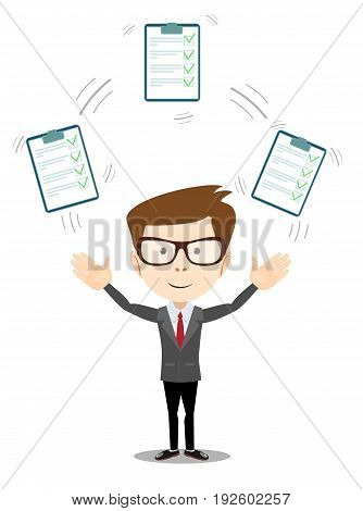 Businessman with a clipboard with green tick . Flat design clip board and check marks