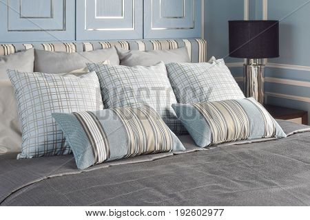 Light Blue Romantic Style Bedroom With Pattern And Texture Of Bedding