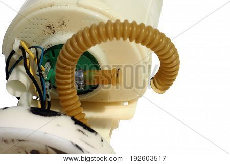 Plastic pipe bent of Pump tik electronic fuel defective and power line is break Photo macro focus select at rubber line and and green plastic Isolate and clipping paths.