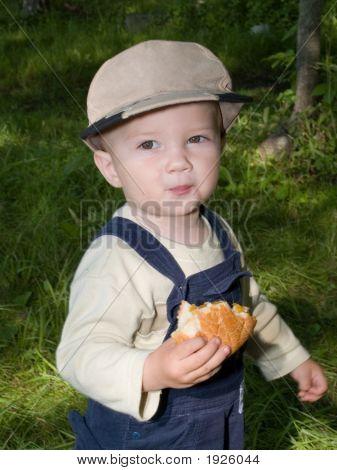boy eathing healthy roll food kid child poster