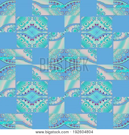 Abstract geometric seamless background. Regular squares and diamond pattern with circles light blue, pink and turquoise shifted.