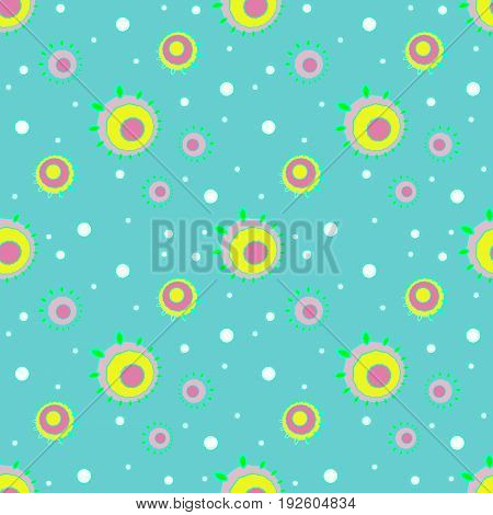 Abstract geometric seamless floral background. Regular concentric circles pattern white, pink, yellow, violet and bright green on turquoise diagonally.