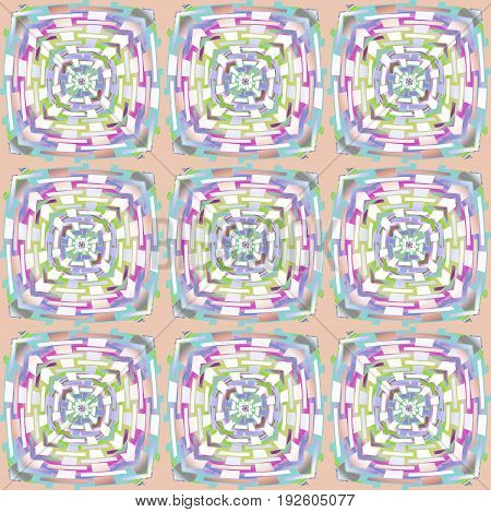 Abstract geometric background multicolored. Regular squares pattern white, light blue, light green and purple shades on pink.