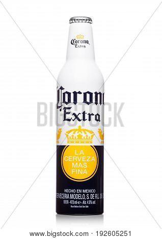 London, United Kingdom - June 22, 2017: Aluminium Bottle Of Corona Extra Beer On White. Most Popular