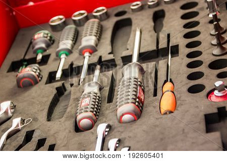 Tool Kit With Many Tools It Is A Device For The Technician.