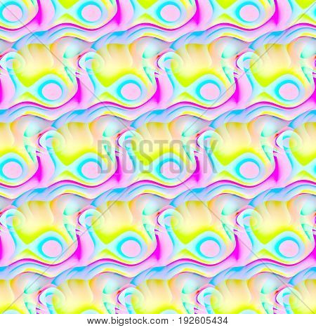 Abstract geometric seamless background. Regular wavy lines with circles pattern yellow, lime green, pink, violet, magenta, lilac and light blue, diagonally.