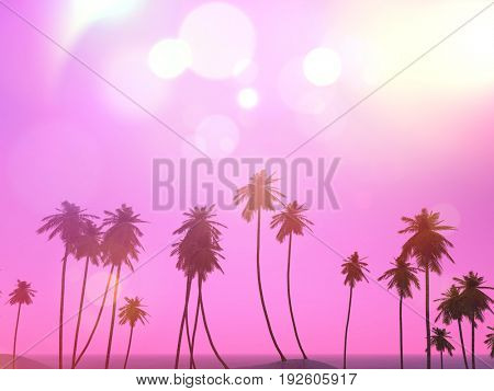 3D render of a palm trees landscape with a retro effect