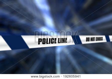 3D render of a police line tape against defocussed background