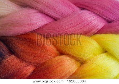 Pink And Orange Kanekalon Braids