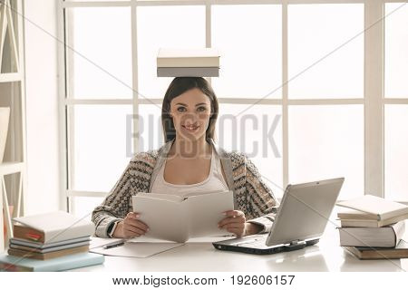 Young woman study at home alone meditation