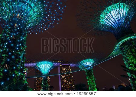 Singapore MAY 28 2017: Night view of Supertrees at Gardens by the Bay. The park of a strategy by the Singapore government to transform Singapore from a