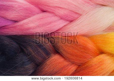 Orange And Pink Kanekalon Braids Texture