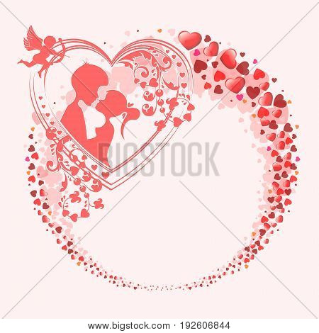 Red design from the silhouettes of the heart in the form of a circle, with the outline of the two lovers, boy and girl