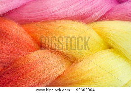 Orange And Pink Kanekalon Braids