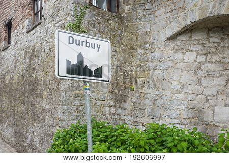 BELGIUM - DURBUY - MEDIO JUNE 2017: Durbuy place name plate a city in Wallonië in Belgium.