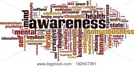 Awareness word cloud concept. Vector illustration on white