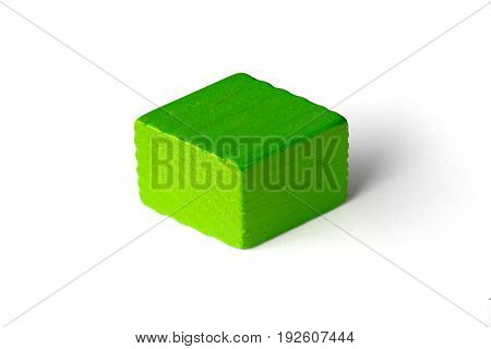 Green wood parallelogram shape on white background
