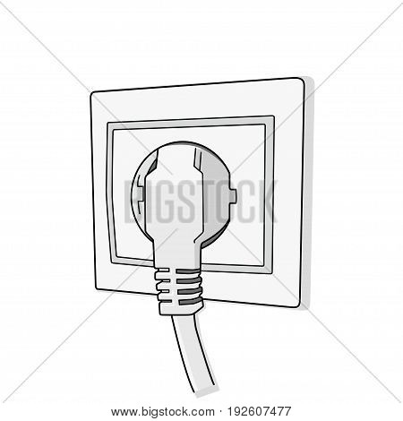 power cord into an electrical outlet  vector illustration.