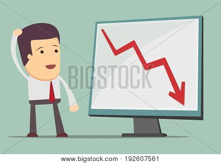 Business man and fall chart line. For use in presentations. Vector