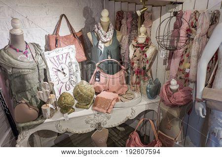 BELGIUM - DURBUY - MEDIO JUNE 2017: Vintage store in Durbuy Belgium.