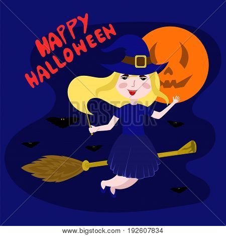 witch flying on a broomstick vector illustration. happy Halloween.