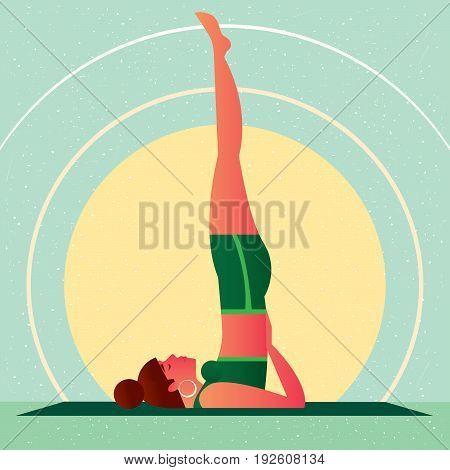 Girl In Yoga Shoulderstand Pose Or Sarvangasana