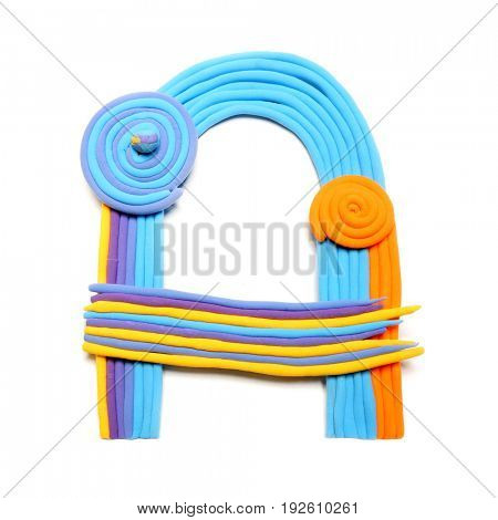 Plasticine letter A. Color plasticine alphabet, isolated. Blue and orange color of the alphabet