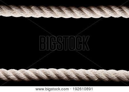 White sea rope on a black background
