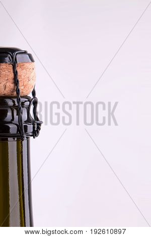 The neck of a bottle of champagne. Bottle of champagne bottles