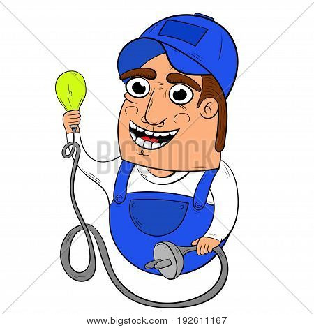 cartoon character design work electrician vector illustration.