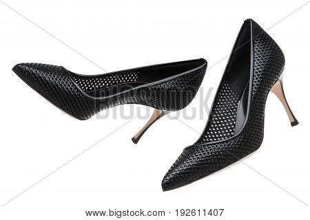 Black lacquered high heel shoes. Black shoes with heels.