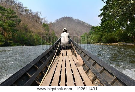 long wood boat for traveler at the north of thailand pai river
