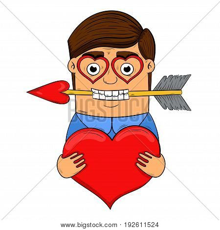 man in love holding a heart in hands vector illustration. the design of the character.