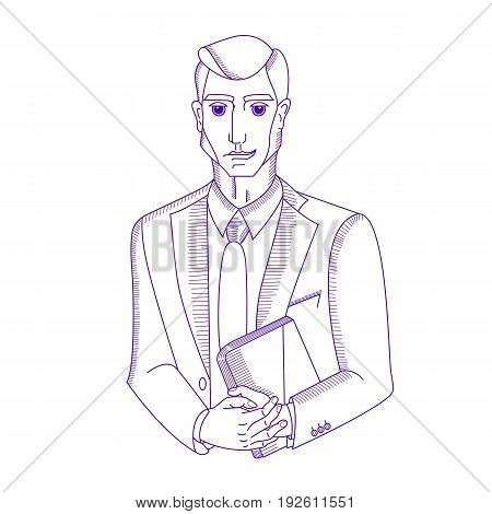 businessman with a folder in hands. vector
