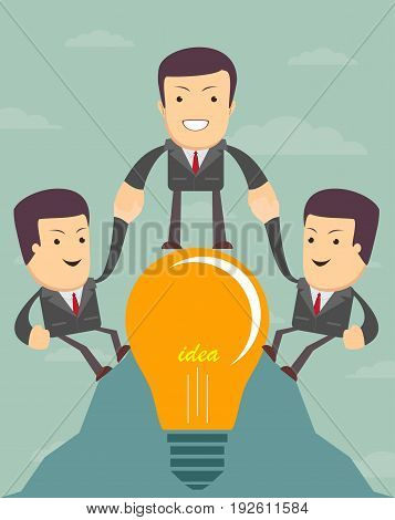 Icon Success Increase Concept. Teamwork , people help each other. For use in presentations . Stock vector illustration