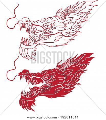 Hand drawn outline Chinese Dragon's head tattoo