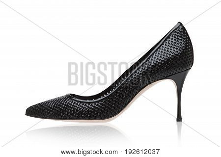 Black lacquered high heel shoes. Italian shoes.