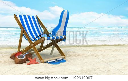 Lounger and sunshade on the beach. 3d illustration