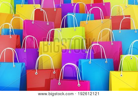 Many colored shopping bag background. 3d illustration
