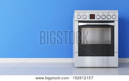 Modern stainless stove and blue wall. 3d illustration
