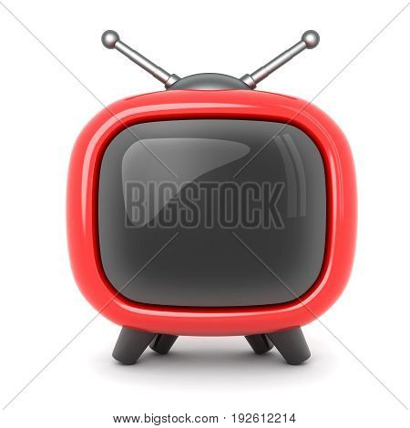 Red TV symbol on a white background. 3d illustration