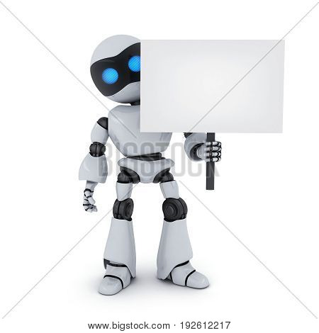 White robot and empty blank. 3d illustration