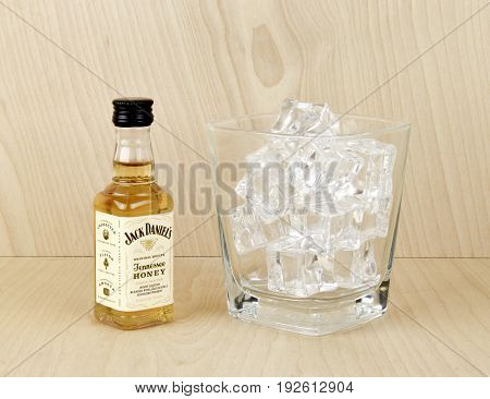 Spencer WisconsinJune 24 2017 Bottle of Jack Daniels Honey flavored whiskey Jack Daniel's is produced in America