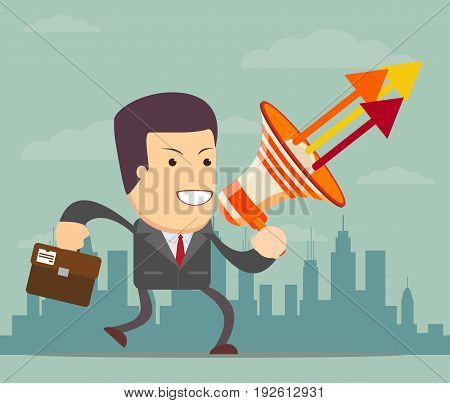 Businessman with a megaphone, Business concept. Stock vector illustration